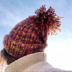 Vintage rainbow hand knit beanie